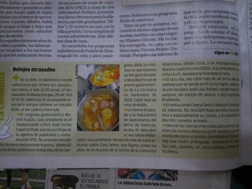 Opinión de Antonio Vergara en la cartelera del diario Levante.